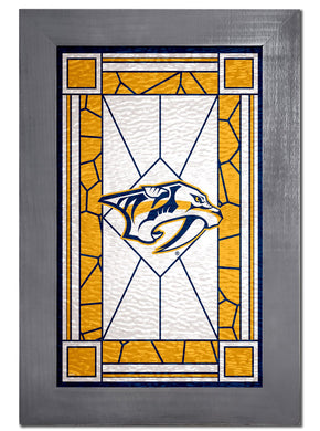 Nashville Predators Stained Glass Wood Sign