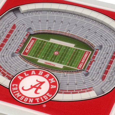 NCAA fan gear Alabama Crimson Tide coaster set close-up on football stadium from Sports Fanz