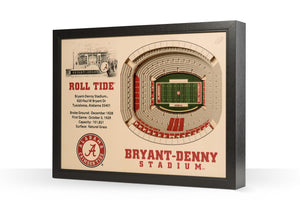 NCAA football memorabilia Roll Tide Bryant-Denny Stadium 3D wall art from Sports Fanz
