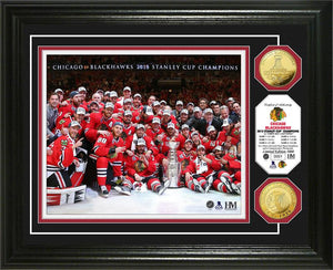 Chicago Blackhawks 2015 Stanley Cup Champions Celebration Gold Coin Photo Mint