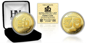 Broncos versus Panthers Super Bowl 50 Gold Flip Coin