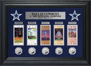 Dallas Cowboys 5 Time Super Bowl Champions Deluxe Silver Coin & Ticket Collection