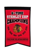 "Chicago Blackhawks 6 Time Stanley Cup Champions Banner - 14""x22"""