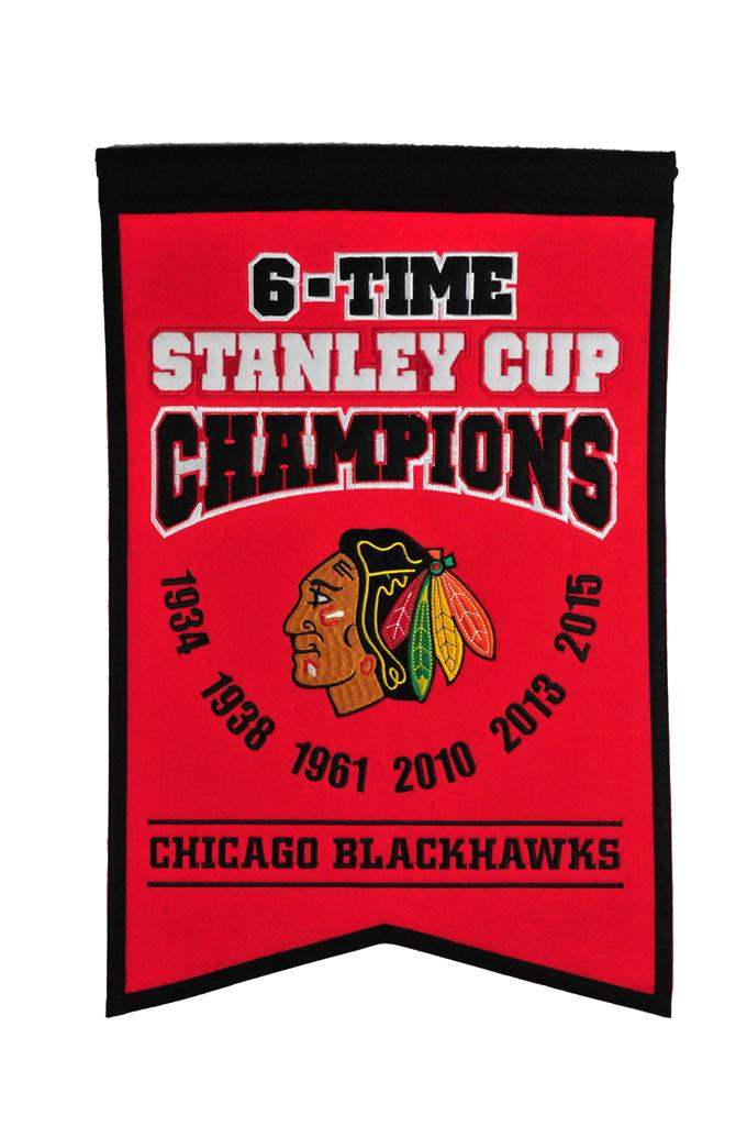 Chicago Blackhawks 6 Time Stanley Cup Champions Banner - 14