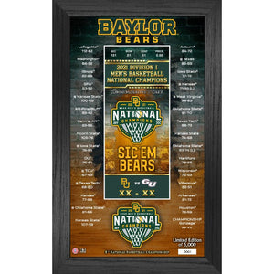 Baylor Bears 2021 Men's Basketball Champions Commemorative Ticket Frame