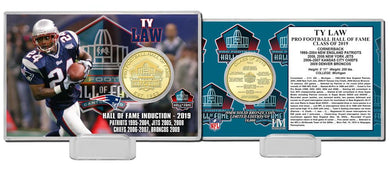 Ty Law New England Patriots Hall of Fame 2019 Bronze Coin Card