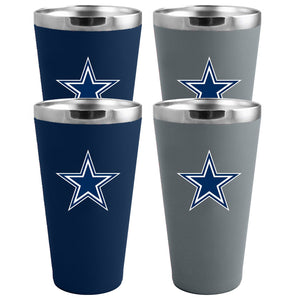 Dallas Cowboys 4-Pack Matte Color Stainless Steel Pint Glass Set