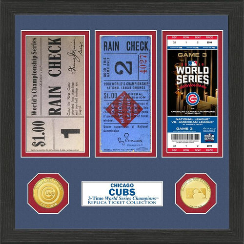 Chicago Cubs 3-Time World Series Champions Ticket Collection