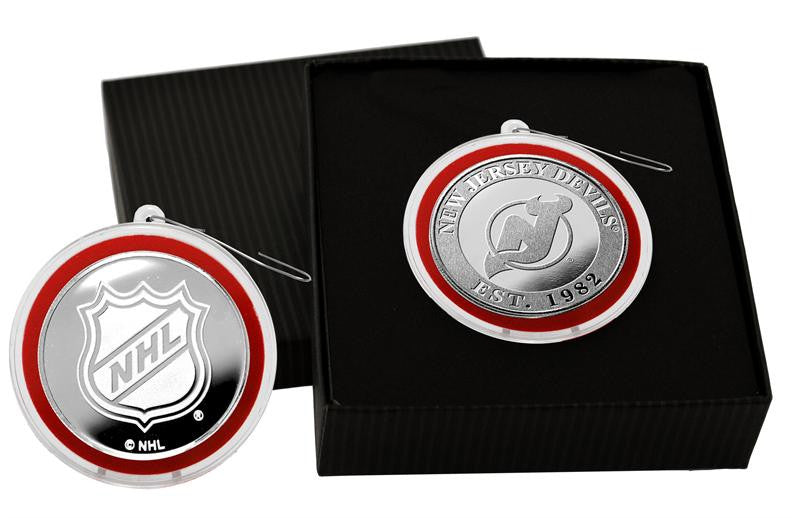 New Jersey Devils Silver Coin Ornament