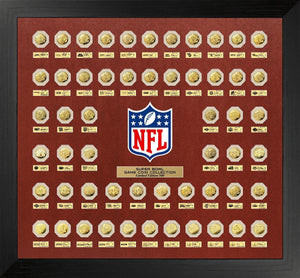 NFL Super Bowl Framed Gold Flip Coin Collection