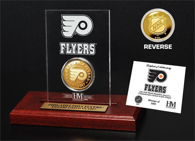 Philadelphia Flyers Gold Coin Etched Acrylic