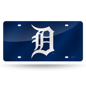 Detroit Tigers Navy Chrome Laser Tag License Plate