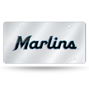 Miami Marlins Chrome Laser Tag License Plate