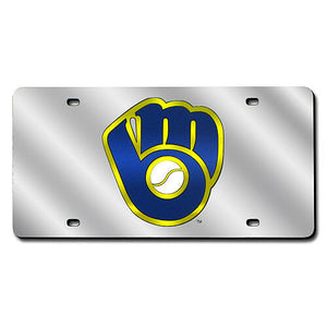 Milwaukee Brewers Chrome Laser Tag License Plate