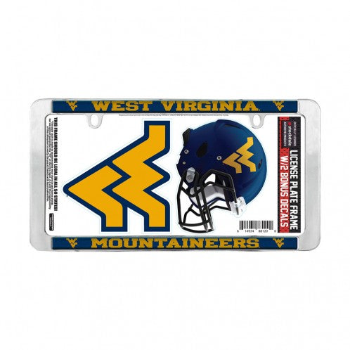 West Virginia Mountaineers Chrome Thin License Plate Frame FREE Decals
