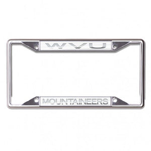 West Virginia Mountaineers Frosted Chrome License Plate Frame