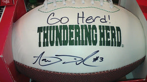 "Sports memorabilia ""Go Herd!"" signed Aaron Dobson Marshall football from Sports Fanz"