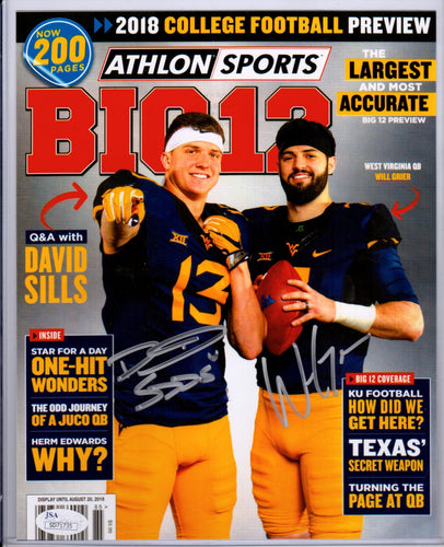 David Sills V & Will Grier West Virginia Mountaineers Dual Signed Athlon Cover