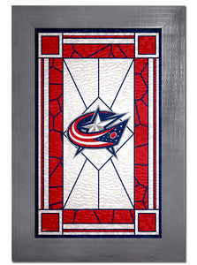 Columbus Blue Jackets Stained Glass Wood Sign