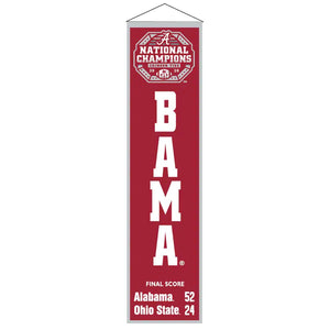 "Alabama Crimson Tide 2020 CFP National Champions Heritage Banner - 8""x32"""