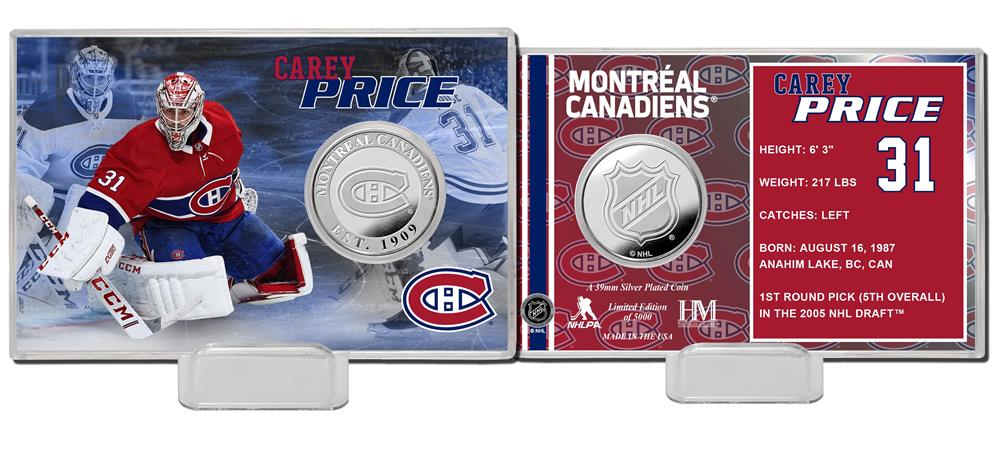 Carey Price Montreal Canadiens Silver Coin Card