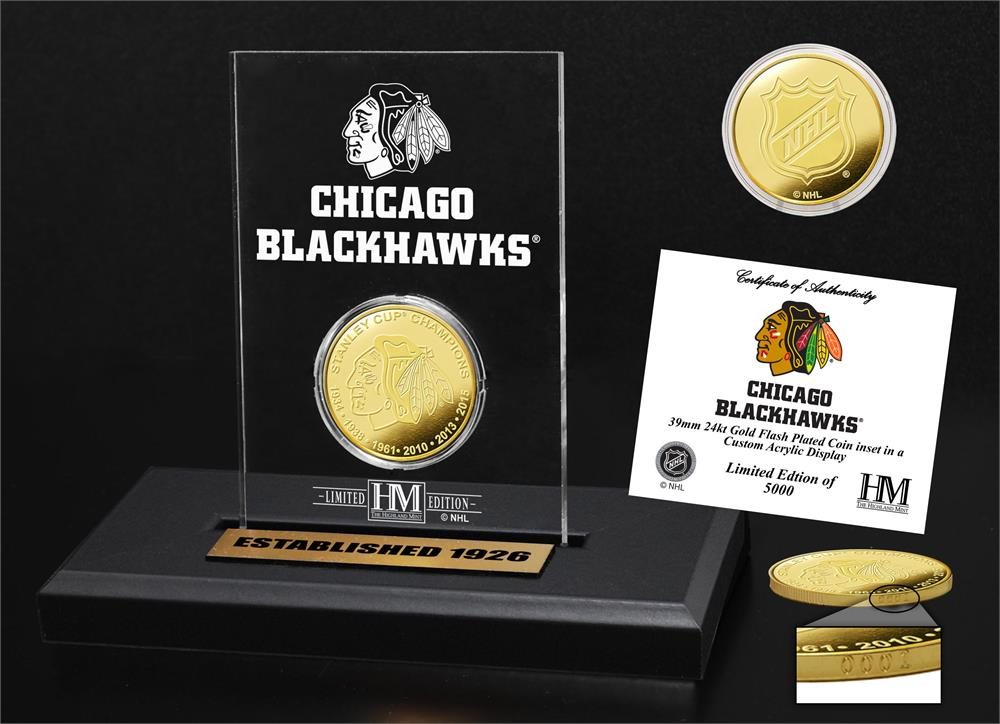 Chicago Blackhawks Gold Coin Etched Acrylic