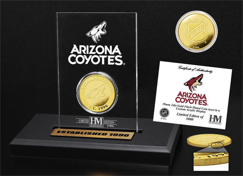 Arizona Coyotes Gold Coin Etched Acrylic