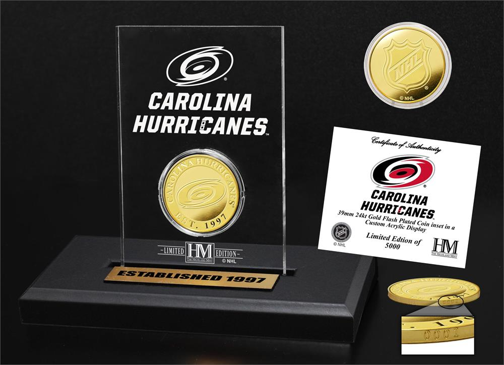 Carolina Hurricanes Gold Coin Etched Acrylic