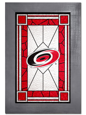 Carolina Hurricanes Stained Glass Wood Sign
