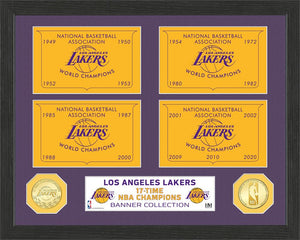 Los Angeles Lakers 17-Time Champions Bronze Coin Banner Collection