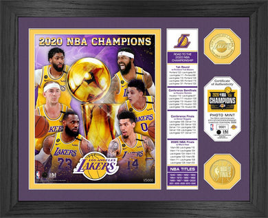 Los Angeles Lakers 2020 NBA Finals Champions Banner  Bronze Coin Photo Mint