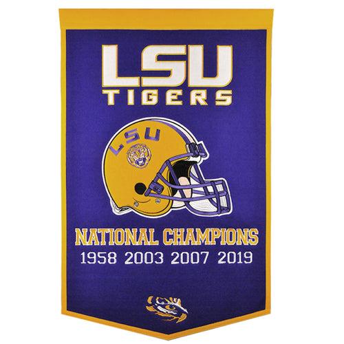 LSU Tigers 4-Time Football National Champions Dynasty Banner - 24'' x 36''