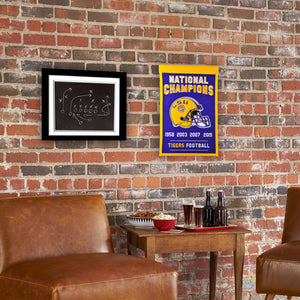 LSU Tigers 4-Time Football National Champions Banner