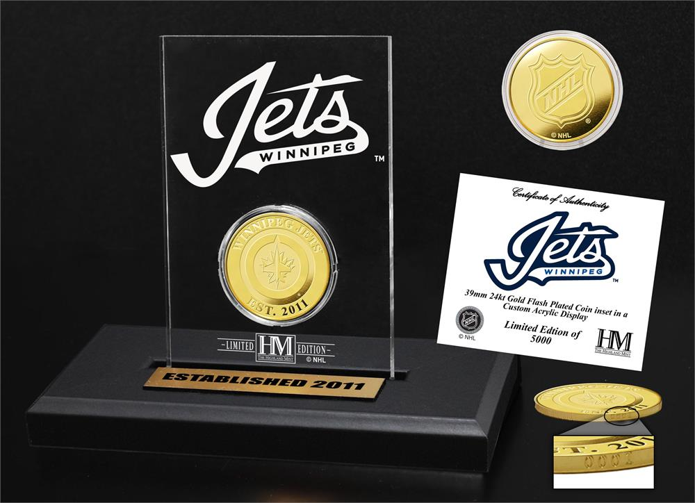 Winnipeg Jets Gold Coin Etched Acrylic
