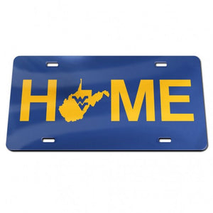 West Virginia Mountaineers WV Home Blue Acrylic License Plate