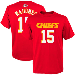 Patrick Mahomes Kansas City Chiefs #15  Red Youth Player Name & Number Shirt