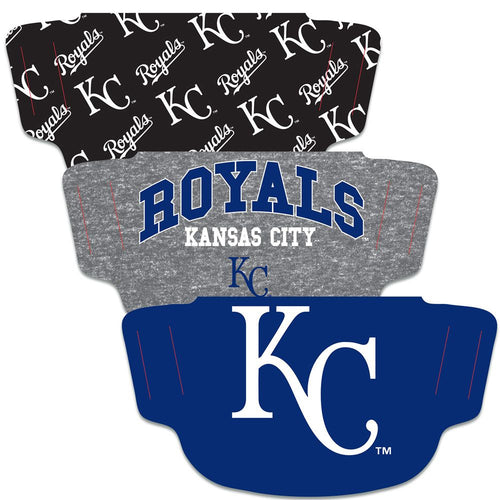 Kansas City Royals Fan Mask Adult Face Covering - 3 Pack
