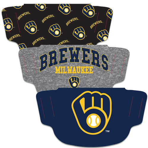 Milwaukee Brewers Fan Mask Adult Face Covering 3-Pack