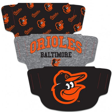 Baltimore Orioles Fan Mask Adult Face Covering 3-Pack