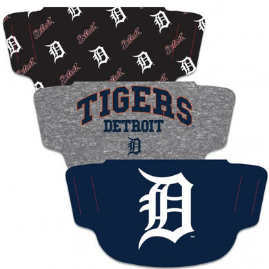 Detroit Tigers Fan Mask Adult Face Covering 3-Pack