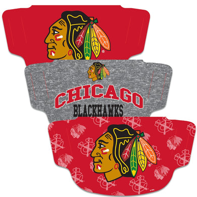 Chicago Blackhawks Fan Mask Adult Face Covering 3-Pack