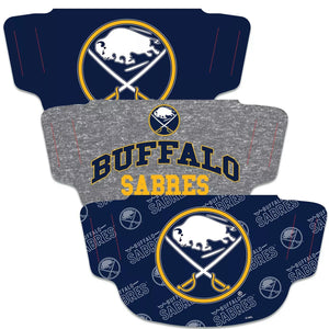 Buffalo Sabres Fan Mask Adult Face Covering 3-Pack