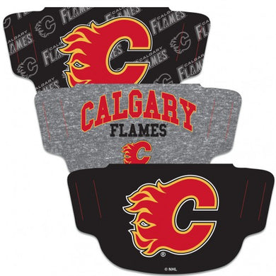 Calgary Flames Fan Mask Adult Face Covering 3-Pack
