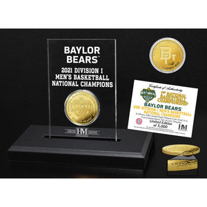Baylor Bears 2021 NCAA Men's Basketball Champions Gold Coin & Acrylic Display