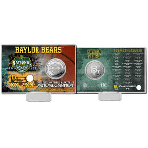 Baylor Bears 2021 NCAA Men's Basketball Champions Silver Coin Card