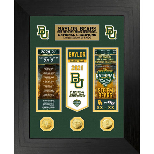 Baylor Bears 2021 Men's Basketball Champions Deluxe Gold Coin Ticket And Banner Photo Mint