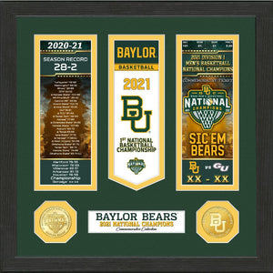 Baylor Bears 2021 NCAA Men's Basketball National Champions Ticket And Banner Photo Mint
