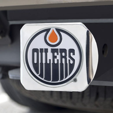 Edmonton Oilers Color Emblem On Chrome Hitch Cover