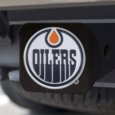 Edmonton Oilers Color Emblem On Black Hitch Cover