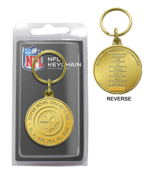 Pittsburgh Steelers 6-Time Super Bowl Champions Bronze Coin Keychain